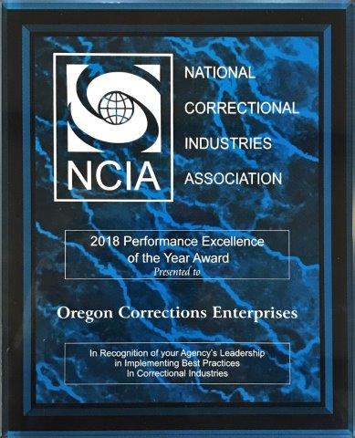 2018 National Correctional Industries Association Performance Excellence Award